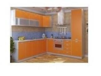 Угловая оранжевая кухня с ДСП фасадами - Мебельная фабрика «ЛюксМебель24»