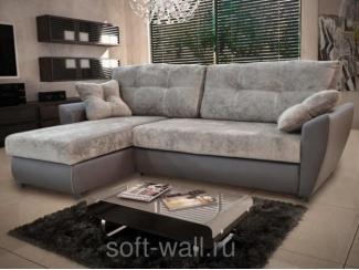 Велюр угловой диван Вегас с оттоманкой  - Мебельная фабрика «SoftWall»
