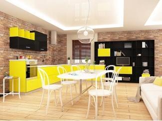 Яркий гарнитур в черно-желтом цвете Мартэ Новиа Small - Мебельная фабрика «Cucina»