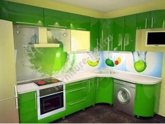 Зеленая кухня с фотопечатью  - Изготовление мебели на заказ «Игал»