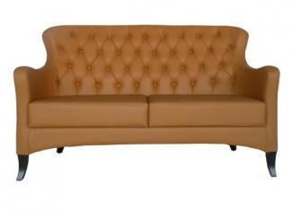 Коричневый диван с каретной стяжкой AKN-5538 - Мебельная фабрика «Металл Плекс», г. Краснодар