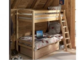 Детская двухъярусная кровать из натурального дерева Кадет 3 - Мебельная фабрика «Дубрава»