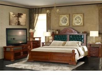 Спальня из натурального дерева Винцент со вставками из кожи - Мебельная фабрика «Дубрава»