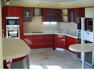 Угловая красная кухня - Мебельная фабрика «Найди»