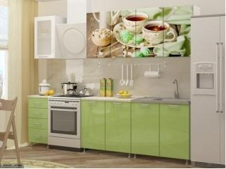 Кухня прямая Фисташки-1 с фотопечатью