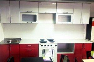 Прямая бело-красная кухня Альянс - Мебельная фабрика «Фалькон»