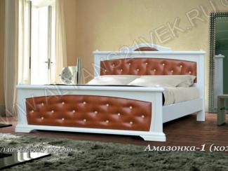 Кровать Амазонка с кожанными вставками - Мебельная фабрика «Альянс 21 век»