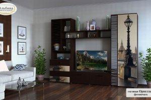 Гостиная стенка Орнелла 3 с фотопечатью - Мебельная фабрика «Альбина»