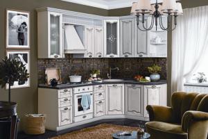 Кухня Изабель (Белое дерево с серебряной патиной) - Мебельная фабрика «Трио»