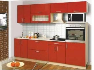красная прямая кухня Тофи - Мебельная фабрика «Олмеко»