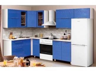 Синяя кухня Цветочный переполох  - Мебельная фабрика «Аджио»