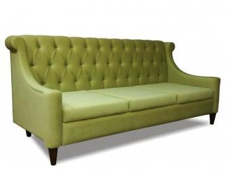 Зеленый диван с каретной стяжкой