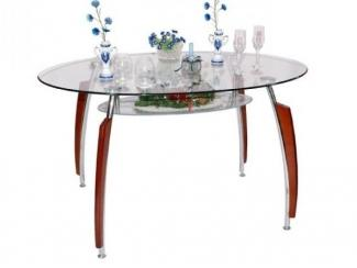 Овальный стеклянный столик с полкой под столешницей - Мебельная фабрика «Фран»