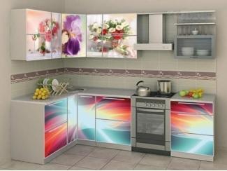 Угловая кухня с фотопечатью Букет  - Мебельная фабрика «Мебель России»