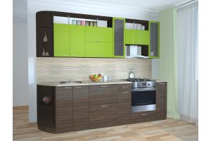 Кухня прямая Эбеновое дерево-Олива - Мебельная фабрика «Эко»