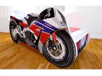 Кровать детская с матовой фотопечатью Мотоцикл