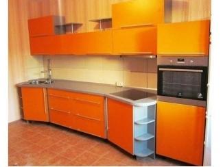 Оранжевая прямая кухня  - Мебельная фабрика «Три кита»