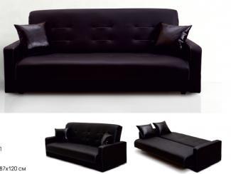 Диван Аккорд черный с белой отстрочкой  - Мебельная фабрика «Луховицкая мебельная фабрика»
