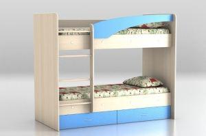 Кровать двухъярусная млечный дуб - синий