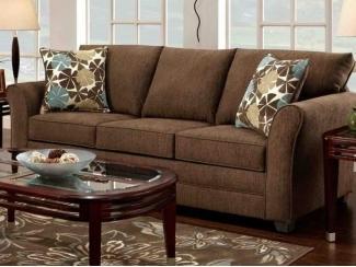 Коричневый прямой диван   - Мебельная фабрика «POBEDA.»