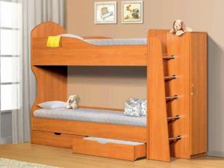 Кровать 2-х ярусная с ящиками и шкафом - Мебельная фабрика «Актив-М»