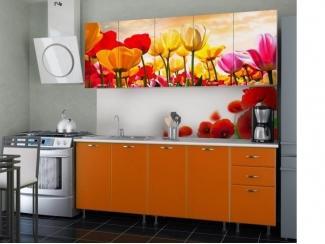 Простая кухня с фотопечатью Тюльпан  - Мебельная фабрика «СОЮЗ»