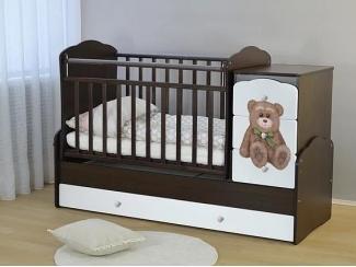 Детская кроватка СКВ-9  с фотопечатью Мишка - Мебельная фабрика «СКВ-Компани»