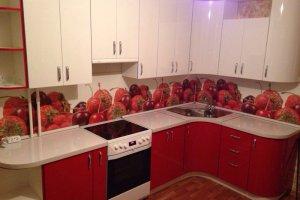 Красно-белая Угловая кухня - Мебельная фабрика «МиАн»