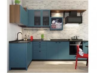 Синяя матовая кухня Лофт  - Изготовление мебели на заказ «Кухни ЧУ»