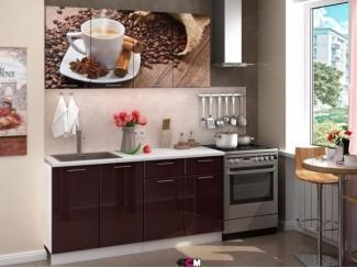 Коричневая кухня с фотопечатью Кофе  - Мебельная фабрика «Стендмебель»
