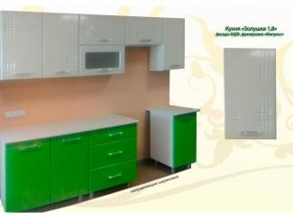 Кухня прямая Золушка 1,8 зелено-белая