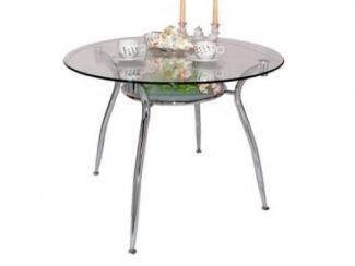 Круглый стеклянный стол с полкой под столешницей  - Мебельная фабрика «Фран»