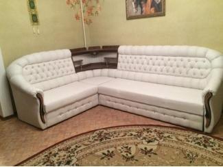 Угловой диван белый с каретной стяжкой - Мебельная фабрика «Уют»