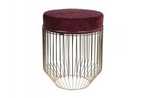 Банкетка велюровая на металлическом каркасе круглая - Мебельная фабрика «Эвальд»