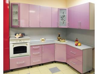 Кухня угловая Люкс розовый металлик