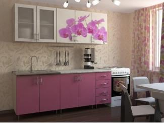 Розовая кухня с фотопечатью Орхидея  - Мебельная фабрика «Натали»