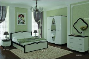 Спальня Силуэт белый глянец/венге - Мебельная фабрика «SON&C»
