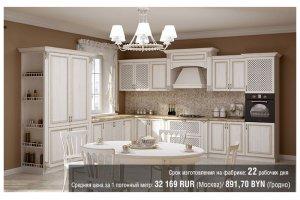 Белая угловая классическая кухня Milana 2 - Мебельная фабрика «Alva Line»