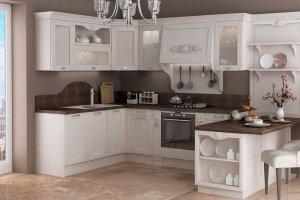 Белая угловая кухня Аттика - Мебельная фабрика «Кухни Медынь»