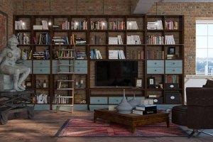 Большая гостиная со стеллажом - Мебельная фабрика «Анонс»