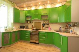 Большая зелёная кухня - Мебельная фабрика «ARC мебель»