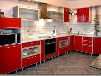Кухня угловая  Феррари в алюминиевой окантовке