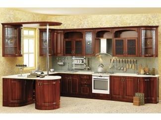 П-образная мебель для кухни  с барной стойкой Нова