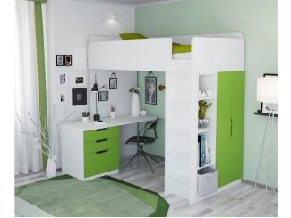 Кровать-чердак Polini Simple с письменным столом и шкафом - Мебельная фабрика «Воткинская промышленная компания»