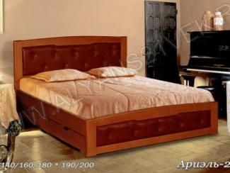 Кровать двуспальная Ариель 2 кожа - Мебельная фабрика «Альянс 21 век»