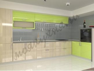 Кухня пластик глянец - Лайм/Дуб карамельный  - Мебельная фабрика «Моя кухня»
