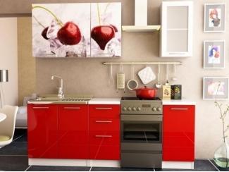 Красная прямая кухня Вишня фотопечать  - Мебельная фабрика «Меон»