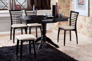 Стол Рондо-ПР стулья и пуф Агат - Мебельная фабрика «Нео Кухни»