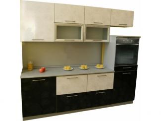 Кухня прямая Черный белый цветок