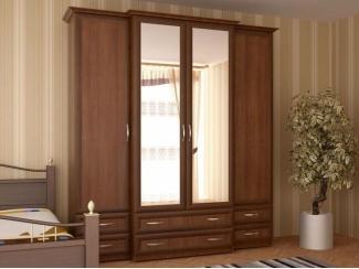 Шкаф 4-х ств двухглубинный с зеркалом - Мебельная фабрика «Лига Плюс»